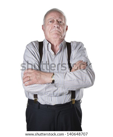 man old white portrait face serius reproof - stock photo