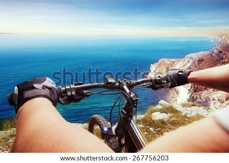 Man on a bicycle - stock photo