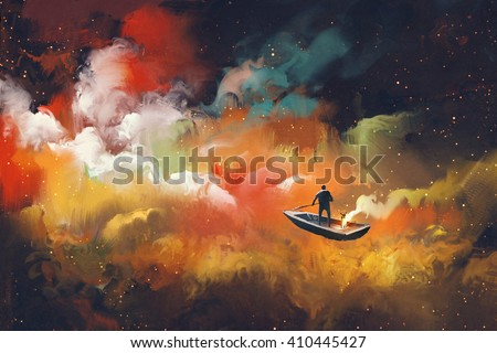 man on a boat in the outer space with colorful cloud,illustration - stock photo