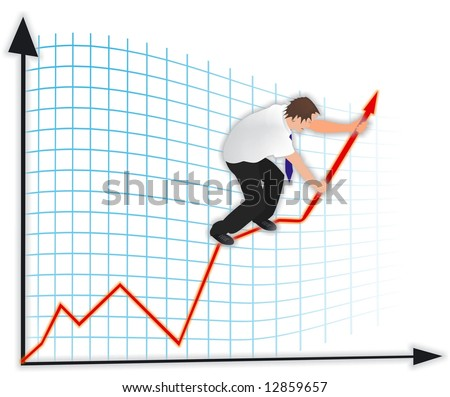 Man on a business graph - stock photo