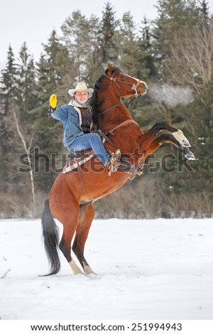 Man on a rearing horse. - stock photo