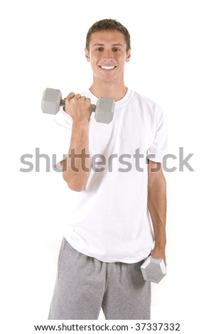 Man on a white background holding dumbbells. - stock photo