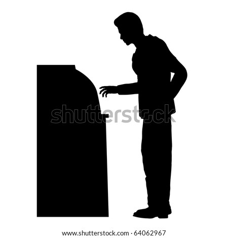 Man on ATM silhouette illustration - stock photo