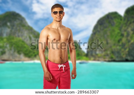 Man on beach at Thailand. Collage. - stock photo