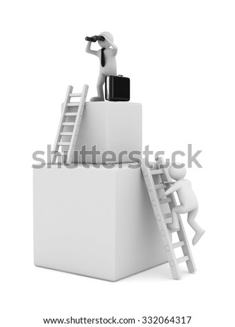 man on box and staircase. Isolated 3D image - stock photo