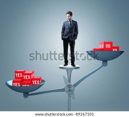 man on 3d scale with 3d red cube - stock photo