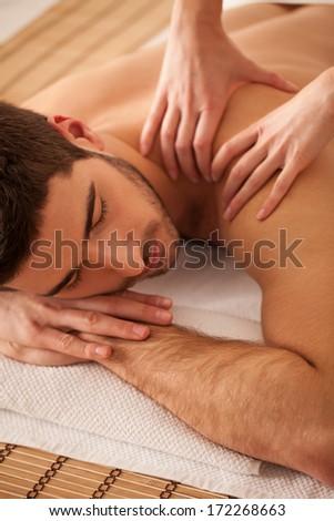 Man on massage. - stock photo