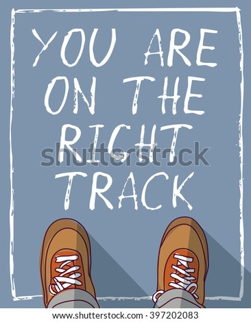 Man on right way track legs road begin. Color illustration.  - stock photo