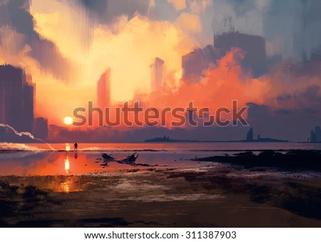 man on sea beach looking at skyscrapers at sunset,illustration painting - stock photo