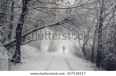 man on snowy path in winter forest - stock photo
