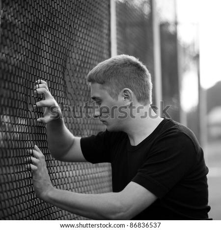 man on street. soft focus - stock photo