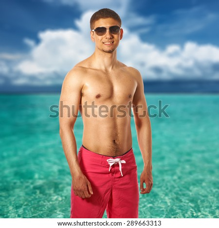 Man on tropical maldivian beach. Collage. - stock photo