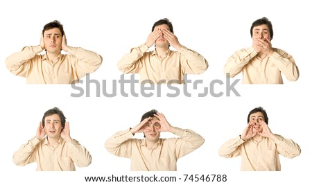 Man open to the world and closing his eyes, ears or mouth - stock photo