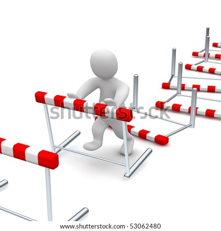 Man overcome or knocking down hurdles. 3d rendered illustration. - stock photo