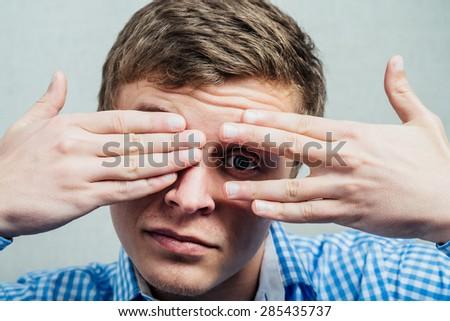 man peeping - stock photo