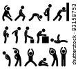 Man People Athletic Exercise Stretching Warm Up Sign Symbol Pictogram Icon - stock photo