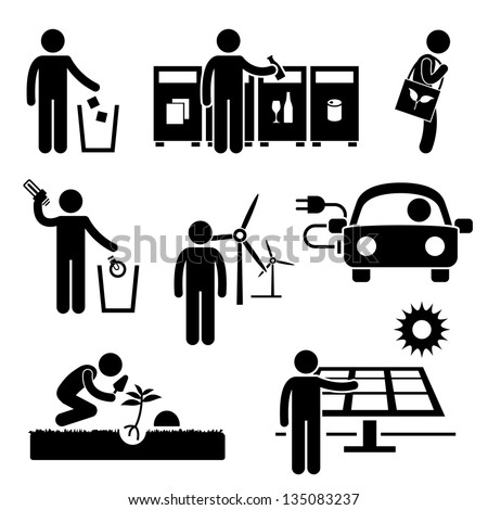 Man People Recycle Green Environment Energy Saving Stick Figure Pictogram Icon - stock photo