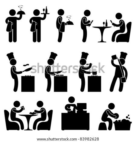 Man People Restaurant Waiter Chef Customer Icon Symbol Pictogram - stock photo