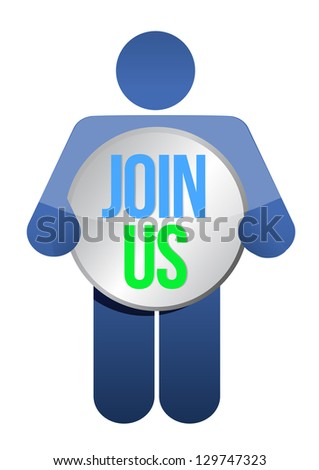 "man, person with a button "" Join us"". Businessman illustration - stock photo"