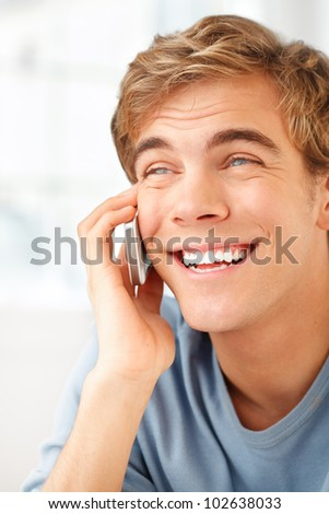 Man phone happy sexy cheerful success - stock photo