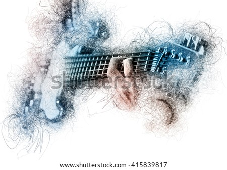 Man playing a guitar. Image with a digital effects - stock photo