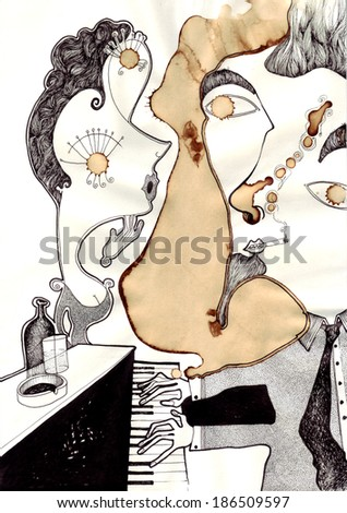 Man Playing at Piano and a Woman Listening/The Piano Man/scan - stock photo