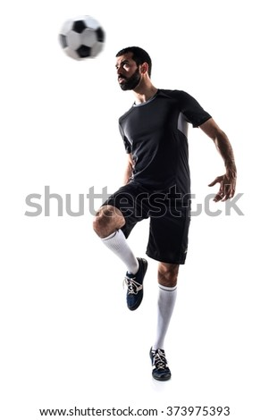 Man playing football - stock photo