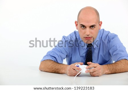 Man playing to video games - stock photo