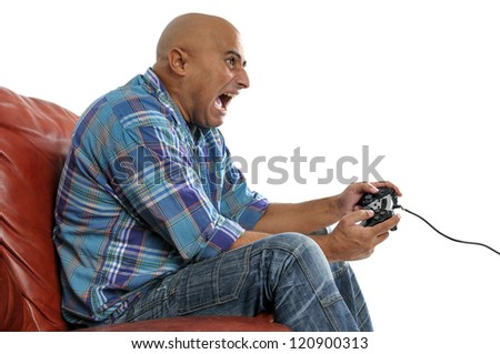 Man playing video games isolated in white - stock photo