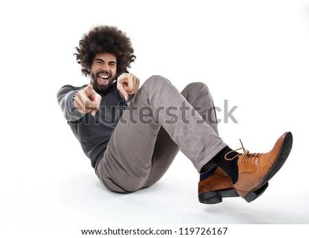 Man Pointing - stock photo