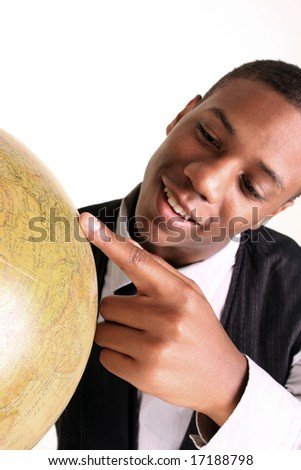 Man pointing at spot at map - stock photo