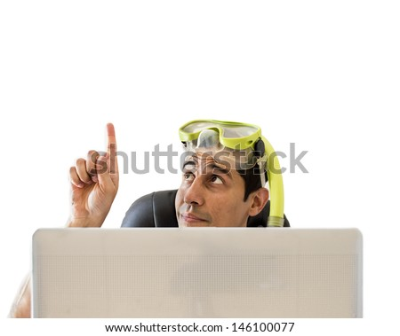 man pointing his finger to copy space - stock photo