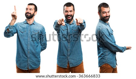 Man pointing to the front - stock photo