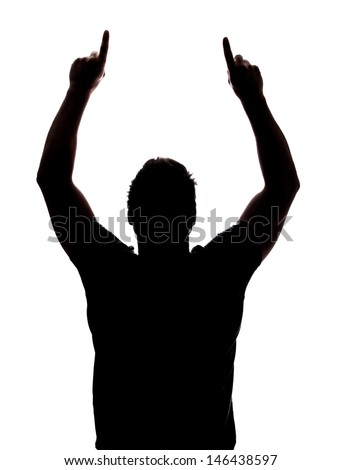 Man pointing up in silhouette isolated over white background  - stock photo