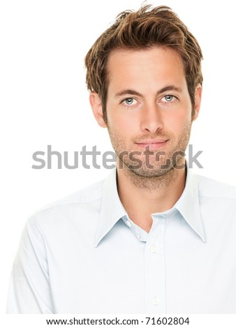 Man portrait. Good looking casual young businessman isolated on white background. Male Caucasian model smiling. - stock photo