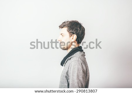 man portrait in profile - stock photo