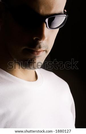 Man portrait with eyeglasses - stock photo
