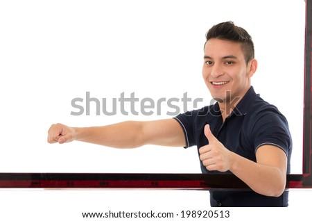 man posing as driving a car. - stock photo