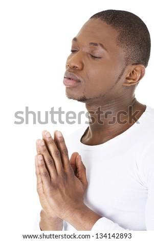 Man Praying, isolated on white - stock photo