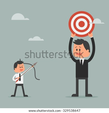 Man prepare shooting arrow to target. Goal achievement and success concept. Motivation concept to be successful in business and life. Illustration in flat design. - stock photo