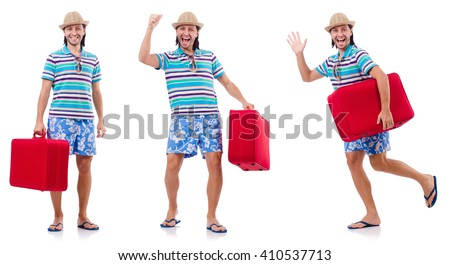 Man preparing for this summer vacation - stock photo