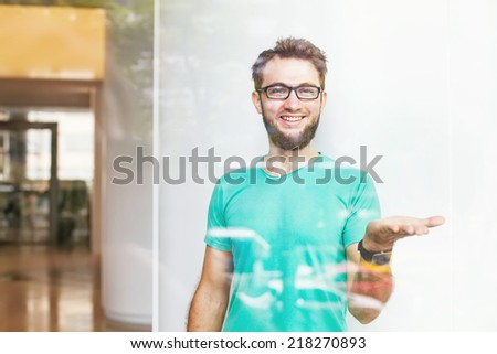 man presenting something - template - stock photo
