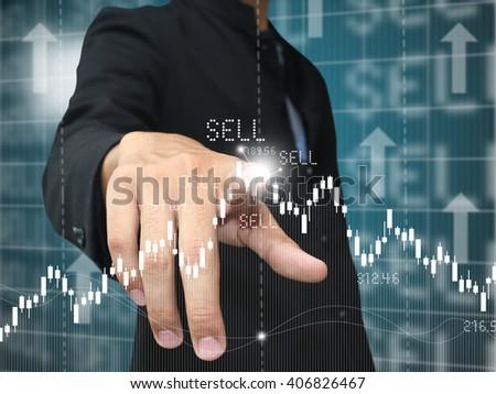 man press sell point - stock photo