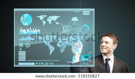 man presses interface - stock photo