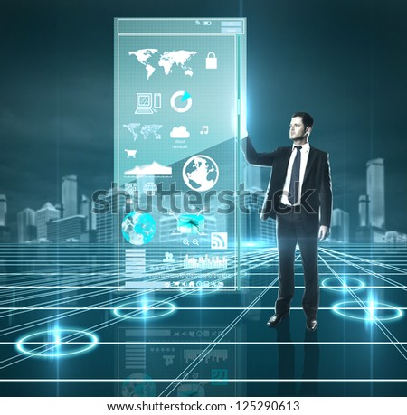 man presses interface, high resolution - stock photo