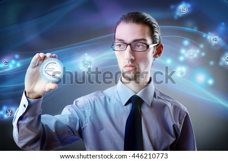 Man pressing buttons with euro currency - stock photo