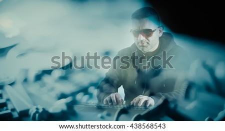 Man programmer coding - stock photo