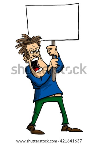 Man protesting with sign, looking angry, shouting for cause - stock photo