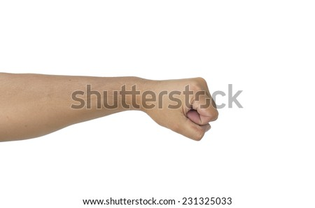 man punch hand isolated white background - stock photo