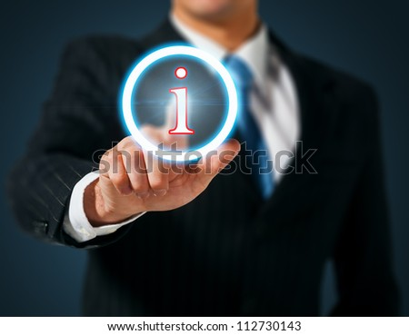 Man pushing on a touch screen interface. Information - stock photo